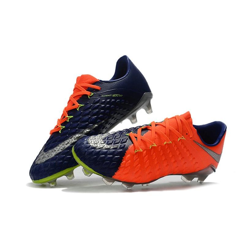 finest selection 359e6 cbba5 Nike Hypervenom Phantom III FG Soccer Cleats Orange Blue Silver