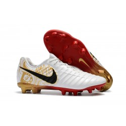 Nike Tiempo Legend VII Men's Leather Boots White Gold Red
