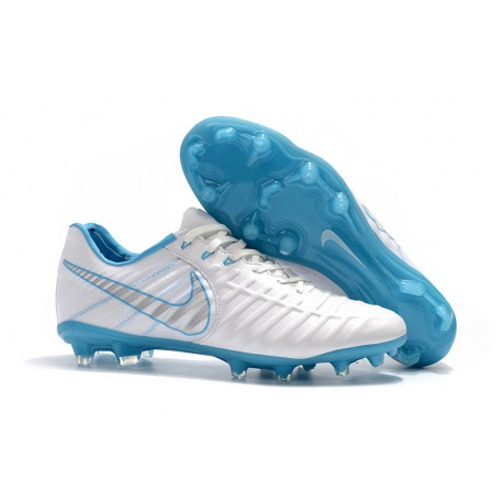 98e482fcf7d Nike Tiempo Legend VII FG K-Leather Soccer Cleats - White Blue