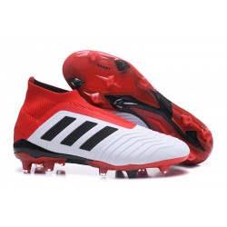 adidas Men's Predator 18+ FG Soccer Cleats - White Red Black