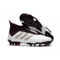 adidas Men's Predator 18+ FG Soccer Cleats - White Brown