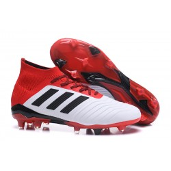 New adidas Predator 18.1 FG Football Boots - White Red Black
