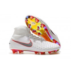 Nike New Magista Obra 2 FG Football Boots White Grey Crimson