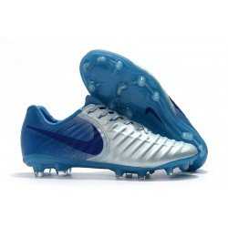 Nike Tiempo Legend VII FG K-Leather Soccer Cleats - Blue Silver
