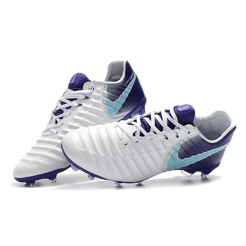 Nike Tiempo Legend VII FG K-Leather Soccer Cleats - White Purple 83e26783dd09
