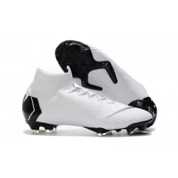 Nike 2018 Mercurial Superfly VI Elite FG Football Boots - White Black