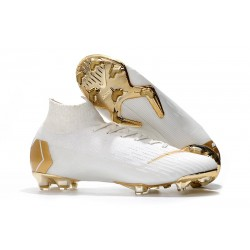 Nike 2018 Mercurial Superfly VI Elite FG Football Boots - White Gold