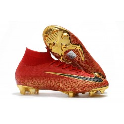 Nike Mercurial Superfly VI Elite FG New Top Cleats - Red Gold Black