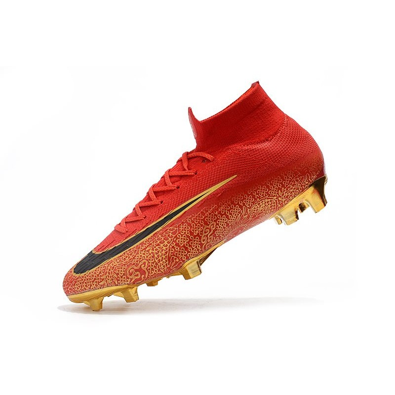 huge discount 482ce 09357 Nike Mercurial Superfly VI Elite FG New Top Cleats - Red Gold Black
