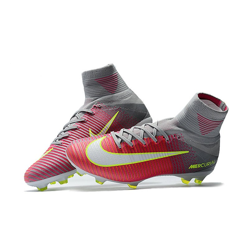 big sale 199d7 996b3 Nike Mercurial Superfly V FG Soccer Cleats - Pink Grey