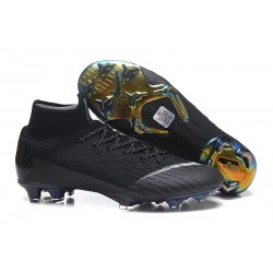 Nike Mercurial Superfly VI Elite FG New Top Cleats - Black White