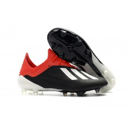 adidas X 18.1 FG Firm Ground Soccer Cleats - Black White Red
