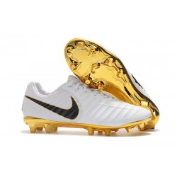Nike Tiempo Legend VII FG K-Leather Soccer Cleats - White Gold Black