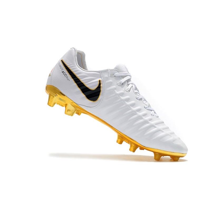 94546ae40 Nike Tiempo Legend VII FG K-Leather Soccer Cleats - White Gold Black
