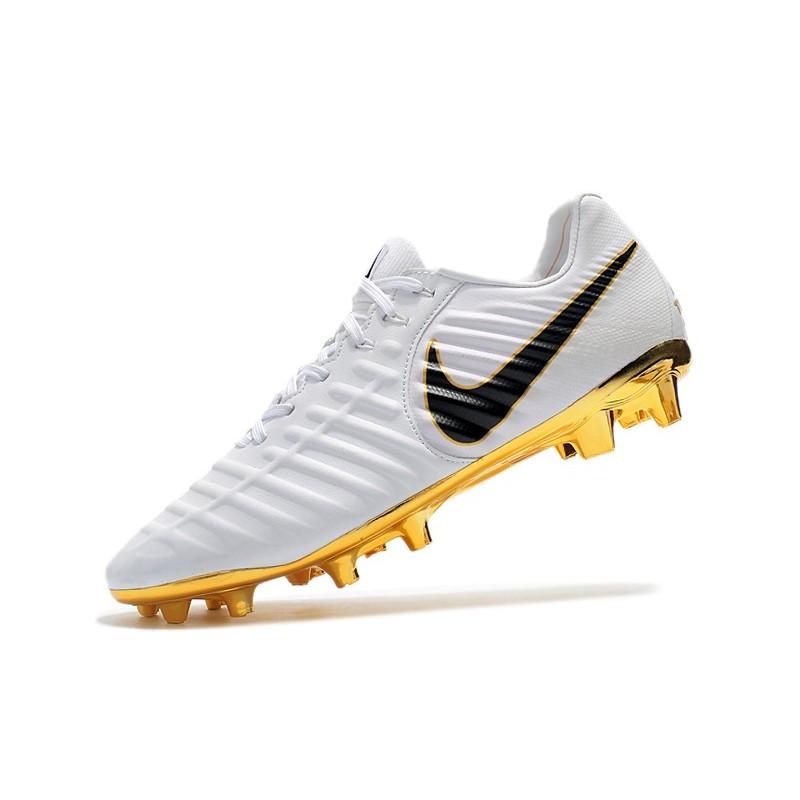 huge discount 6ab66 150d3 Nike Tiempo Legend VII FG K-Leather Soccer Cleats - White Gold Black
