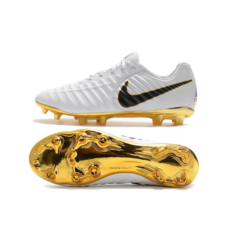 huge discount b8753 c38ca Nike Tiempo Legend VII FG K-Leather Soccer Cleats - White Gold Black