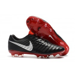 Nike Tiempo Legend VII FG K-Leather Soccer Cleats - Black Red