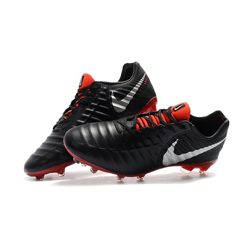quality design c4d04 f1da6 Nike Tiempo Legend VII FG K-Leather Soccer Cleats - Black Red