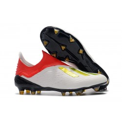 New adidas X 18+ FG Soccer Boots - White Red Gold