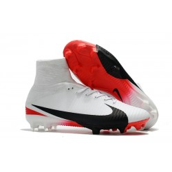 Nike Mercurial Superfly V FG Soccer Cleats - White Red Black