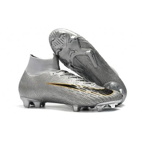 Nike Mercurial Superfly VI Elite FG Football Boots -Silver Black
