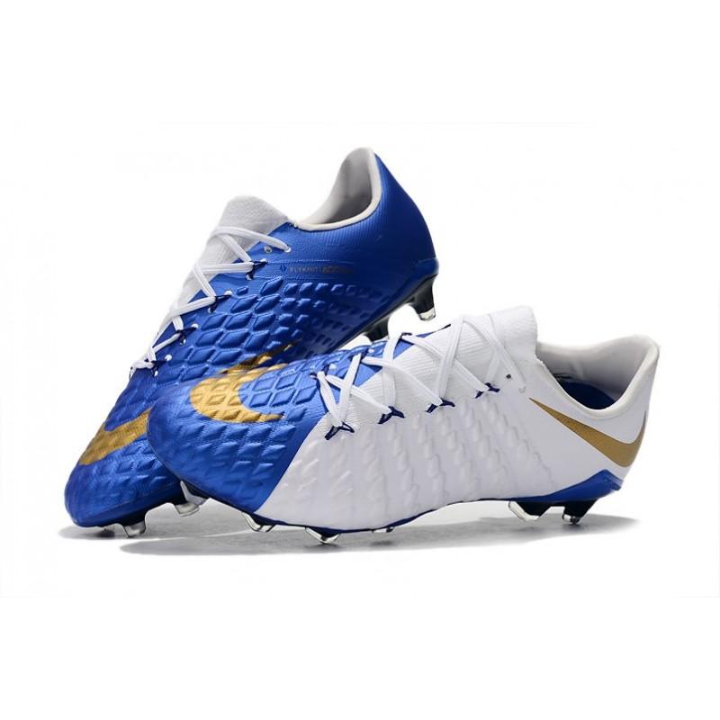 buy online 701ee c655d Nike Hypervenom Phantom III FG Soccer Shoes - White Blue Gold