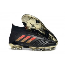 New adidas Predator 18+ FG Firm Ground Boots - Black Red Gold