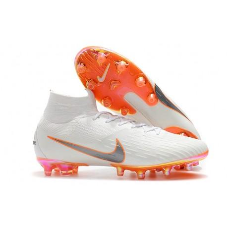 Nike Mercurial Superfly VI Elite AG-Pro Cleats White Orange