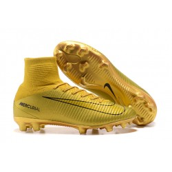 Nike Mercurial Superfly 5 Ronaldo CR7 FG Firm Ground Boots - Golden