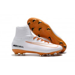 Nike Mercurial Superfly V FG Dynamic Fit Cleat - White Orange