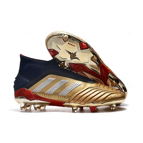 New adidas Predator 19+ FG Soccer Boots - Golden Silver Red