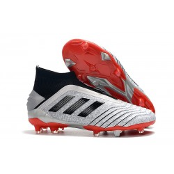 New adidas Predator 19+ FG Soccer Boots - Silver Black Red