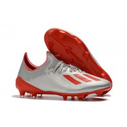 adidas X 19.1 FG Firm Ground Soccer Cleats Silver Metallic Red