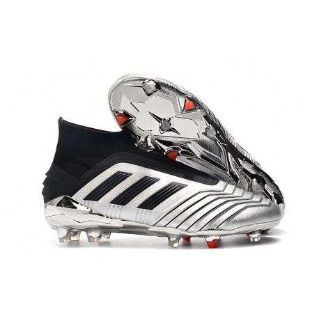 New adidas Predator 19+ FG Soccer Boots - Silver Black