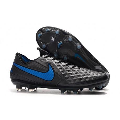 Nike Tiempo Legend 8 FG Leather Cleat - Black Blue Hero