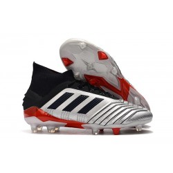 New adidas Predator 19.1 FG Firm Ground Boots - Silver Black Red