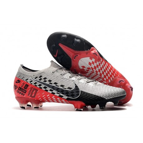 Neymar Nike Mercurial Vapor 13 Elite FG Chrome Black Red