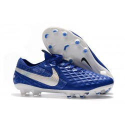 Nike Tiempo Legend 8 FG Leather Cleat - Hyper Royal White