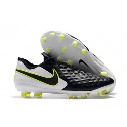 Nike Tiempo Legend 8 FG Leather Cleat - Black White Volt
