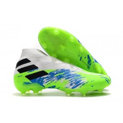 adidas Nemeziz 19+ FG Soccer Cleat White Green Blue