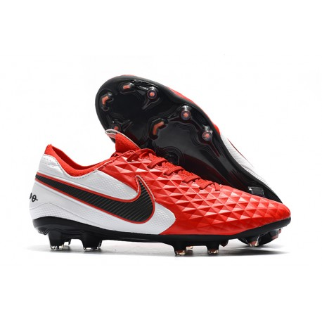 Nike Tiempo Legend 8 FG Leather Cleat - Red White Black