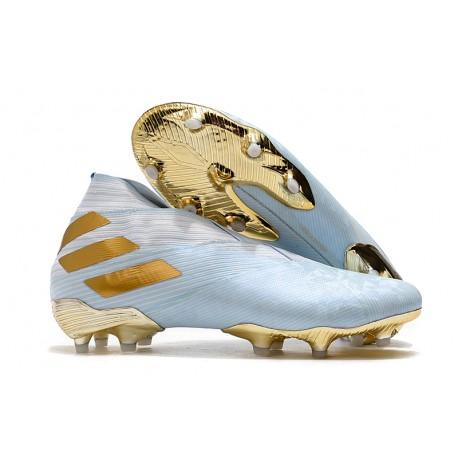 adidas Nemeziz 19+ FG Soccer Cleat Bold Aqua Gold