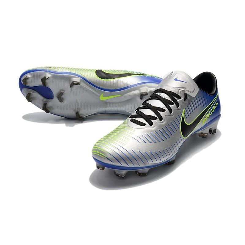 Nike Mercurial Vapor XI FG Men Football Shoes Silver Blue