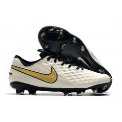Nike Tiempo Legend 8 FG Leather Cleat - White Gold