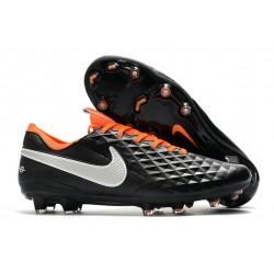 Nike Tiempo Legend 8 FG Leather Cleat - Black White Orange