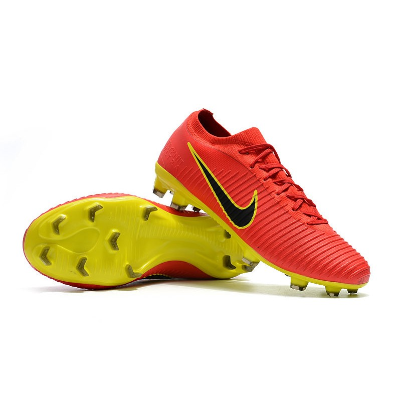 Nike Mercurial Vapor Flyknit Ultra FG Firm Ground Boots - Red Yellow 5836244360e0