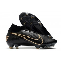 New Nike Mercurial Superfly VII Elite FG Leather Black Gold