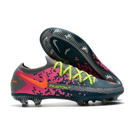 New Nike Phantom GT Elite FG Boots Gray Blue Pink