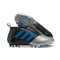 adidas ACE 17+ Purecontrol FG Soccer Cleats - Black Silver Blue