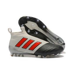 adidas ACE 17+ Purecontrol FG Soccer Cleats - Grey Black Red